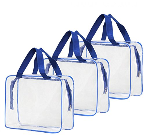WODISON 3pcs Clear Makeup Cosmetic Bag Travel Toiletry Bag Organizer Carrying Case for Summer Blue-Large