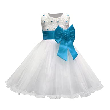 131ee4bfe613 Amazon.com  KONFA Teen Baby Girls Flowers Bowknot Bridesmaid Princess Dress