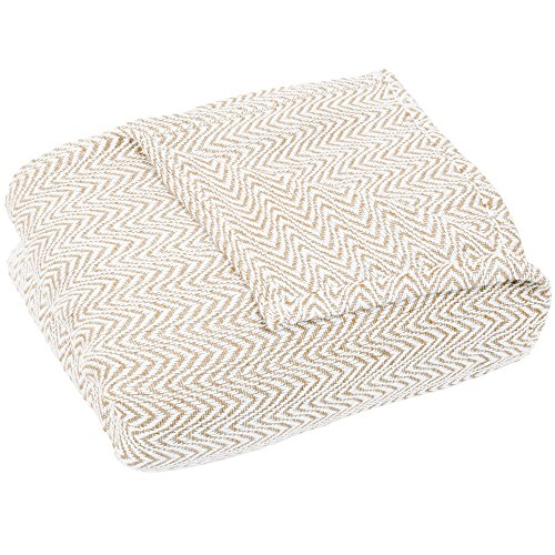 Lavish Home Blanket-100% Cotton King Chevron Luxury Soft Blanket by Taupe by Lavish Home