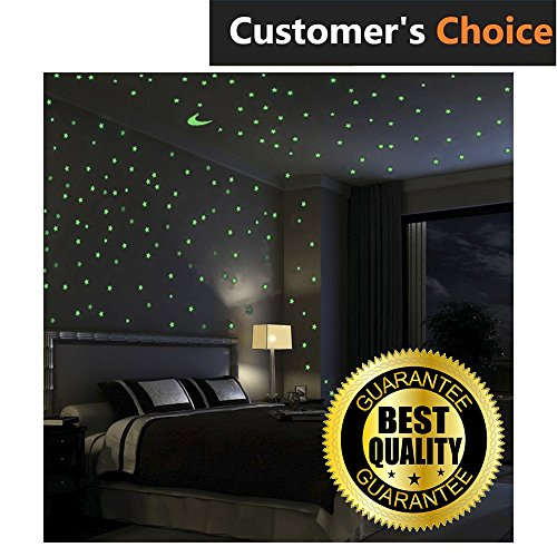 Premium Glow In The Dark Stars Wall Stickers, 100 Glowing Stars And Moon – Perfect Glow Stars for Kids' Rooms, Ceiling Decorations, Romantic Rooms by HIMI