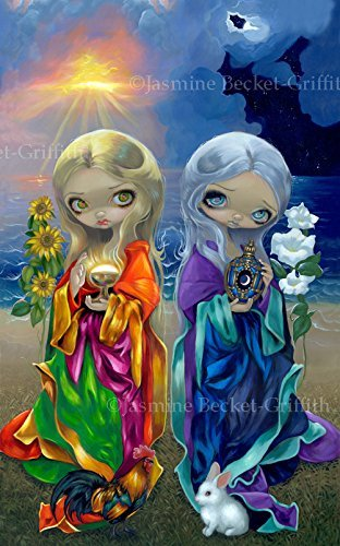 Sun Child And Moon Child  Open Edition Remarqued Canvas Art Print With Signed Coa By Jasmine Becket Griffith