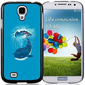 Unique Designed Cover Case For Samsung Galaxy S4 I9500 i337 M919 i545 r970 l720 With Ah Whale Wave Animal Illust Art Sea Phone Case