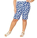 Avenue Women's Tropical Super Stretch Pull-On Bermuda Short, 20 Blue