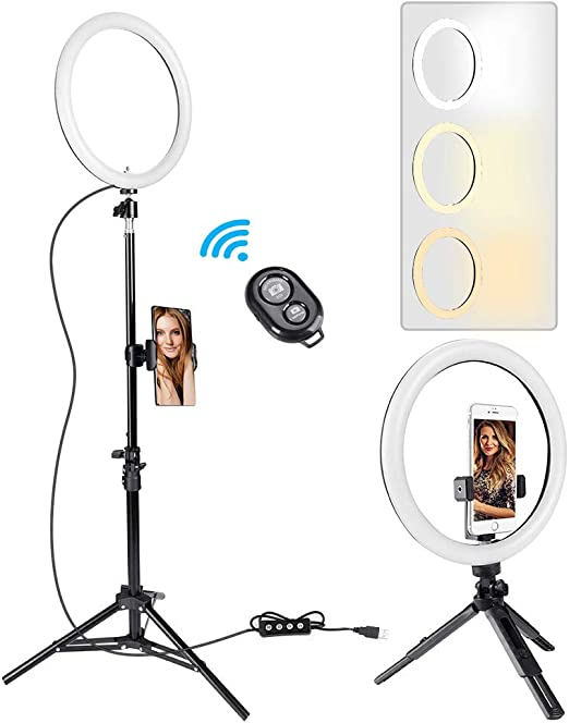 "3 Phone Holder for YouTube Video Makeup Summifit 10/"" Circle LED Light USB Powered Ring Light Selfie Photography iPhone Android Live Streaming Bluetooth Halo Lighting with 2 Tripod Stand"