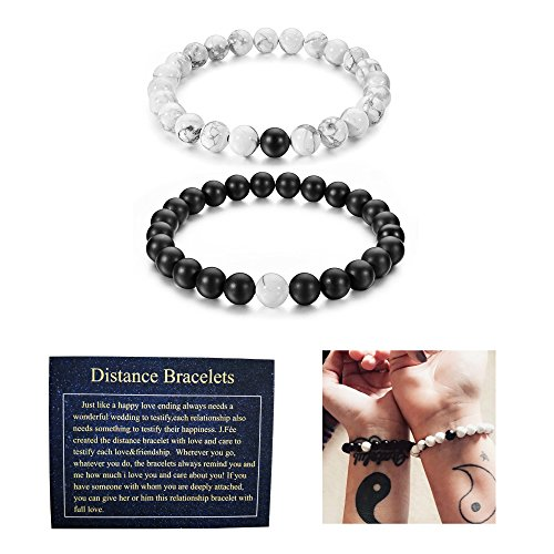 J.Fée Relationship Couples Bracelet Jewelry Box & Meaning Card | Strong Elastic | Friendship Couples His-and-Hers Matte Black Onyx White Howlite Distance Bracelet - [Gift Packaging]