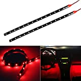 red automotive led light strips - Partsam 2pcs Car Interior Under Dash Floor Decorative LED Lights Strip Red 2 x 12 15LED