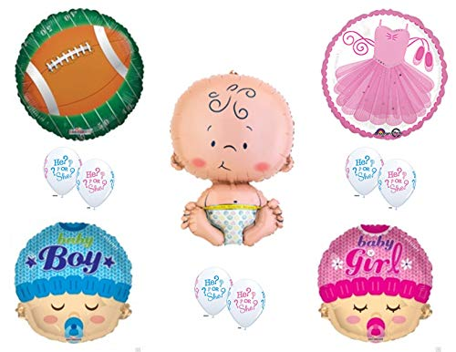 (Touchdowns or Tutus Gender Reveal Balloons Decoration Supplies Baby Shower Boy Girl)