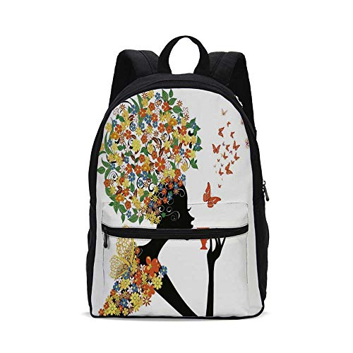 Floral Fashion Canvas printed Backpack,Woman Silhouette with Hot Tea Cup Butterflies Wings Daisies Poppy Hibiscus Hairstyle for -