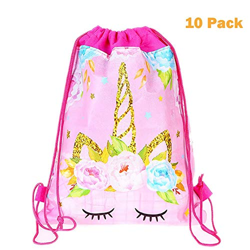 (Kalaia 10 Pack Unicorn Drawstring Party Bags Unicorn Gift Bags Drawstring Backpacks Party Goodie Favor Bag Supplies for Girls Birthday Party Baby Shower)