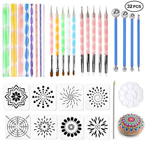 32PCS Mandala Dotting Tools Set, Ofilon Mandala Painting Dotting Stencils Kit, Pen Ball Stylus Dotting Art Tools for Painting Rocks, Clay Pottery Craft, Coloring, Drawing, Nail Art Painting