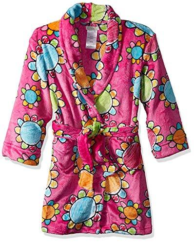 Komar Kids Girls' Big Printed Fleece Robe, Flowers, Medium