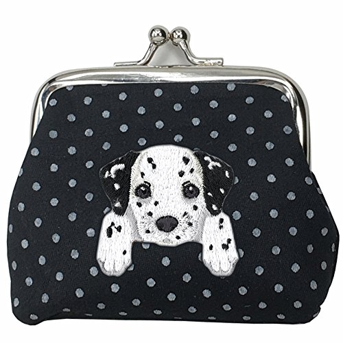 Dalmatian Embroidery ([ DALMATIAN ] Cute Embroidered Puppy Dog Buckle Coin Purse Wallet [ Black Polka Dots ])