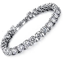 Tennis Bracelet With Swarovski Elements Crystal Jewelry Lady Valentines Gift Zirconia Platinum Plated Bangle Special Gift