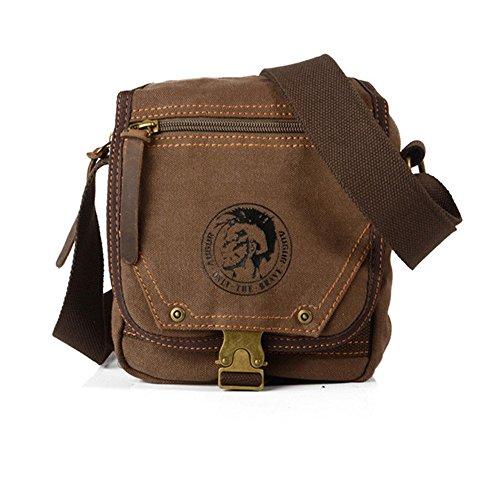 Compras Cremallera simple retro Bolso de hombro impermeable de la lona Bolso del mensajero Color marrón Cómodo