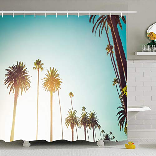Ahawoso Shower Curtain 60 x 72 Inches Bel Lifestyle Rodeo Drive Beverly Hills Palm Trees Calm Hollywood Nature California West Millionaire Waterproof Polyester Fabric Bathroom Set with Hooks ()