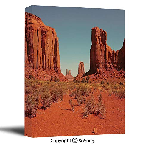 - Desert Canvas Wall Art,Sunny Hot Day Monument Valley Arid Country Primitive Nation Arizona USA,Modern Living Room Office Wall Art Bedroom Decoration Ready to Hang,16x24 inch