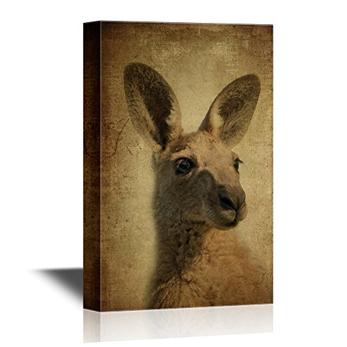 wall26 - Wild Animal Canvas Wall Art - A Kangaroo on Vintage Background - Gallery Wrap Modern Home Decor | Ready to Hang - 16x24 inches -