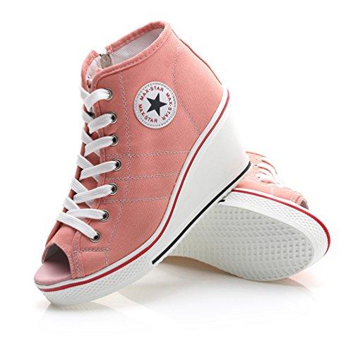 Confortable Mode Tennis Sneakers en 8 Respirant Haute Compensées Talon Chaussures Toile 43 JRenok 35 Femmes à Baskets CM ROwgXx