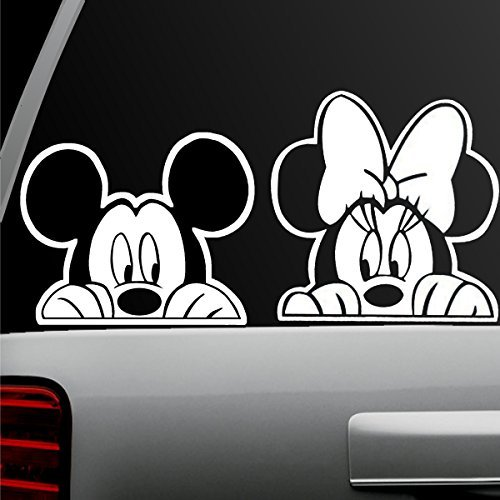 Auto Window Sticker - Auto Sticker - Auto Decal - White - Mickey Mouse and Minnie Mouse Combo - Window Sticker for Car, Truck, Motorcycle, Laptop, Ipad, Wall (Mickey Minnie Combo)