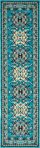 Classic Traditional Geometric Persian Design Area rugs Turquoise 2' 1 x 8' 2 Qashqai Heriz rug - Persian Home Decor