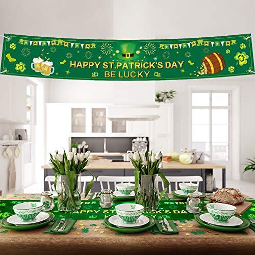 St Patricks Day Cups (Blulu St. Patrick Day Decorations Irish Lucky Shamrock Clover St Patricks Day Banner Shamrock Table Runner Irish Clover Table Runner for Saint Patrick's Day and Springs 72 x 12 Inch)