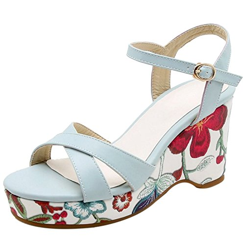 Women Platform Sandals Fashion Blue TAOFFEN 3 Bn1RxRwq