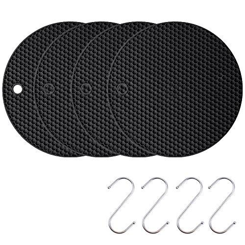 Silicone Coasters Pot Holder Cup Mat,Non Slip Flexible Durable Heat Resistant Hot Pad Black (4 pieces)