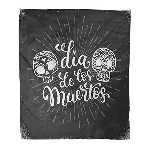 Emvency Throw Blanket Warm Cozy Print Flannel Chalk Dias De Los Muertos in Mexico Doodle Sugar Skulls Halloween Comfortable Soft for Bed Sofa and Couch 50x60 Inches