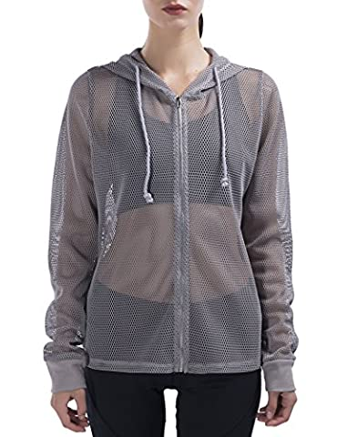 Special Magic Women's Long Sleeve Full Mesh Hooded Hoodie with Metal Zip Light Grey L - Bwh Light Control