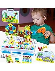 Paochocky Puzzel mozaïek steekspel bouwstenen speelgoed 3D puzzel met boormachine pedagogisch bouwspeelgoed pegboard puzzel voor 3 4 5 6 7 8 9 10 jaar jongens meisjes