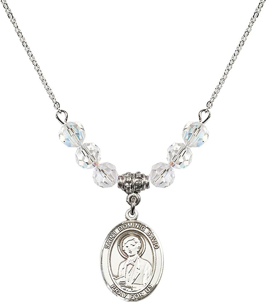 18-Inch Rhodium Plated Necklace with 6mm Crystal Birthstone Beads and Sterling Silver Saint Dominic Savio Charm.