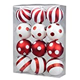 "KI Store Christmas Balls Ornament Shatterproof Christmas Tree Onarments 12 pcs with Red and White Polka Dots Stripes Design, for Xmas Trees, Parties, and Holiday Decoration (3.15"")"