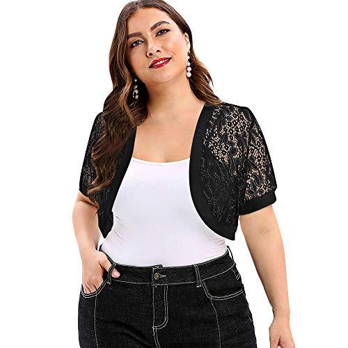 KCatsy Plus Size Open Front Lace Panel Crop Top Black