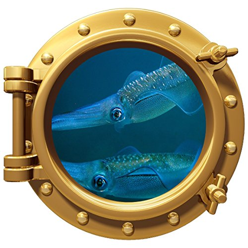 Porthole Wall Color Decal Squid 12