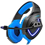 PS4 PC Headsets, iRush Gaming Headphones with Detachable Microphone Stereo Surround Sound USB LED Light Over Ear Gamer Earphones for PlayStation 4, Smartphone, Desktop, Laptop, Notebook