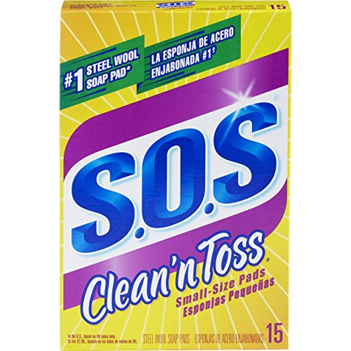 S.O.S. Clean 'n Toss Steel Wool Soap Pads, 15 Count (Single Toss)