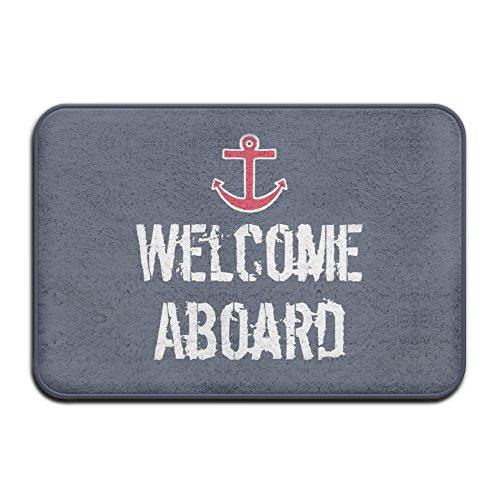 Nautical Boat Welcome Aboard Super Absorbent Anti-Slip Mat,Funny Doormat,Indoor/Outdoor Decor Rug Doormat 23.6(L)X15.7(W) Inch Non-Slip Home Decor