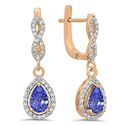 Tanzanite & Round White Diamond Teardrop Earrings