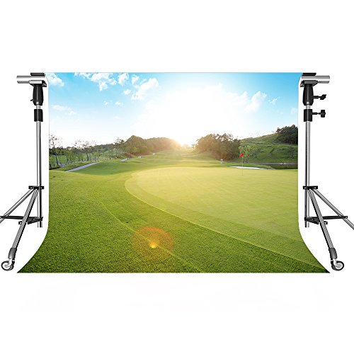 MEETS 7x5ft Golf Course Backdrop Meadow Blue Sky White Clouds Photography Background Themed Party Photo Booth YouTube Backdrop HUIMT417