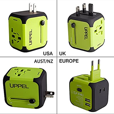 Uppel Worldwide Travel Adapter All-in-one Wall Power Plug Charger with Universal Dual Usb and Safety Fuse for US EU UK AU about 150 countries by Uppel