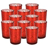 Just Artifacts Speckled Mercury GlassVotiveCandle Holder 2.75'' H(25pcs,Red Votives) w/ 25pcs Wax Tea Light Candles Included