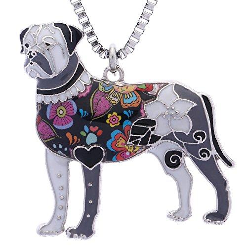 Mastiff Jewelry - Luckeyui Bullmastiff Jewelry for Women Handmade Cute Enamel Pets Dog Birthday Gift Necklace