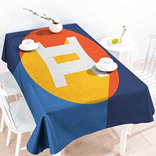 EwaskyOnline Elastic Tablecloth Rectangular,Zodiac Gemini Horoscope Sign with Colorful Graphic Design in a Circle on Blue Background,Table Cover for Dining,W52x70L, Multicolor]()