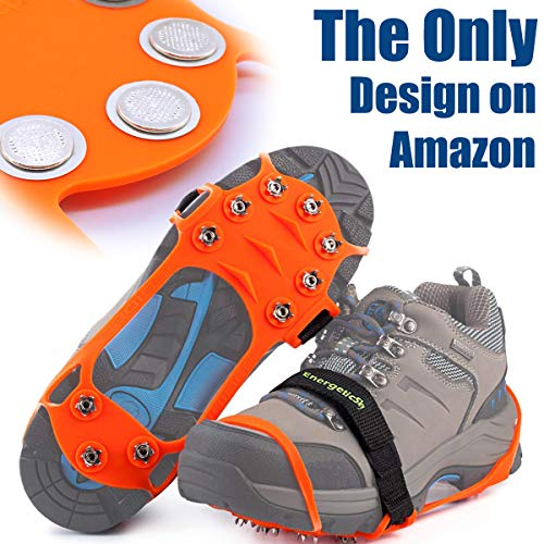 (EnergeticSky Ice Cleat Spikes Crampons and Tread for Snow & Ice,The Only Innovative Design on Amazon,Attaches Over Shoes/Boots for Everyday Safety in Winter,Outdoor,Slippery Terrain. (Orange, L))
