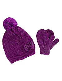 CTM® Toddler Girl's 2-4 Quilted Pattern Beanie with Bow and Matching Mitten Set