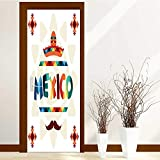 Self Adhesive Wallpaper for Home Bedroom Decor Ethnic Mexican Design in Native Style 3D Door Murals Stickers Wall Decals W32 x H80