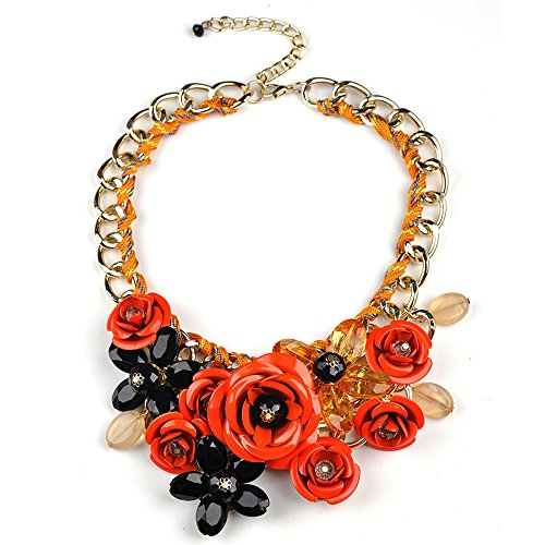 Grenf Fashion Retro Prom Wedding Bridal Style Crystal Flower Necklace Frontal Floral Bib Statement Chunky Necklace Fluorescent color string Pendant 8 Colors (Fluorescent ()
