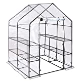 Christow Large Walk In PVC Greenhouse Garden Grow House 8 Mesh Shelves Roll Up Door