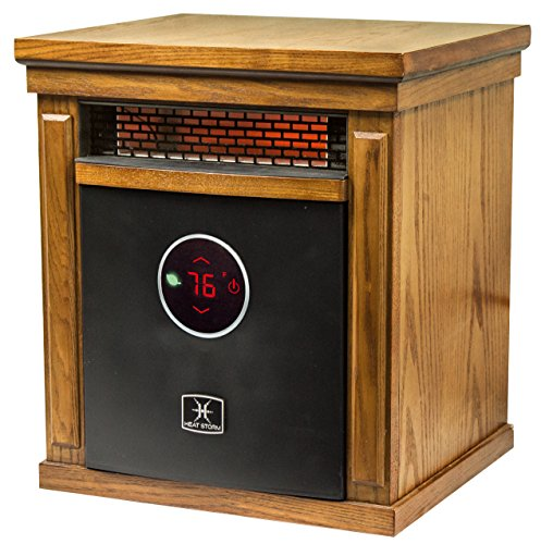 Heat Storm HS-1500-ISM Smithfield, Deluxe Infrared Portable Space Heater, Remote Control, Built in Thermostat and Overheat Sensor - 750-1500 Watts