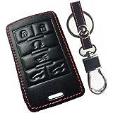 KAWIHEN Leather Smart Remote Key Fob Case Keyless Entry Case Holder Cover For Cadillac Escalade Escalade ESV Escalade EXT 22756466 OUC6000066 850K-6000066